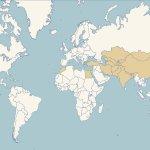 Оцветената в тъмно територия показва регионите, за които е характерно ръчното производство на килими